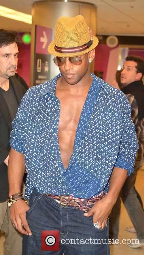 Oritse Williams JLS arrive at Miami International Airport...