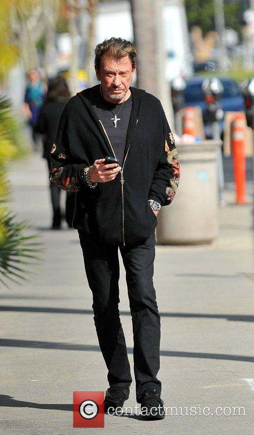 Johnny Hallyday,  out and about in Brentwood....