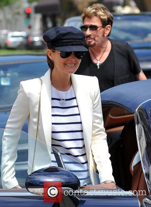 Laetitia Hallyday  leaving lunch in Brentwood Los...