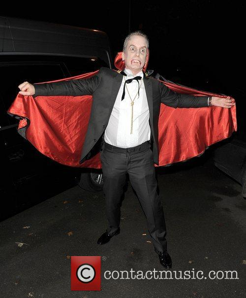Frank Skinner leaving a Halloween party held at...