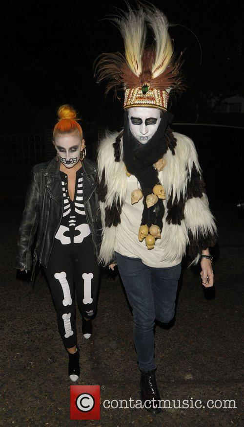 Nick Grimshaw leaving a Halloween party held at...