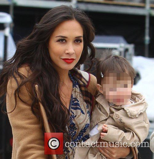Myleene Klass and her daughter Hero  backstage...