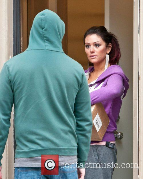 Jenni 'JWoww' Farley receives a delivery at her...