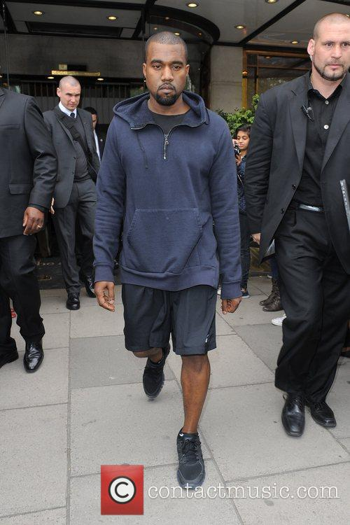 Kanye West leaving his hotel.