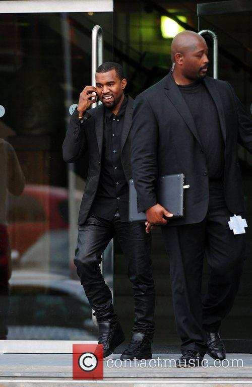 Kanye West leaving his hotel Manchester, England