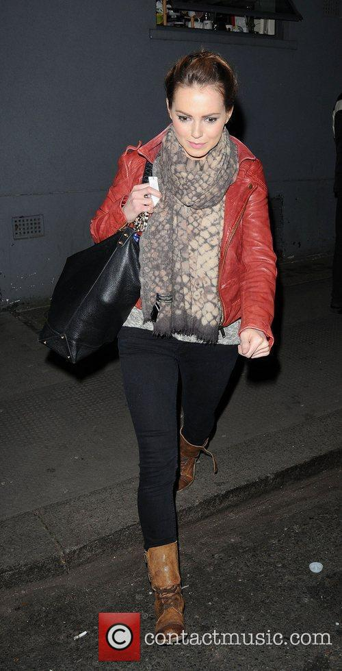 Kara Tointon leaving the Harold Pinter theatre, having...