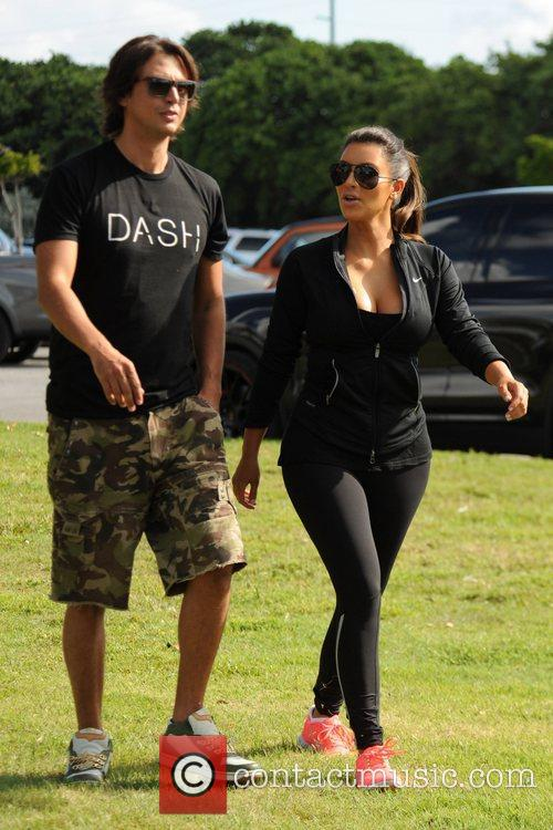 Kim Kardashian The Kardashian family competes in a...