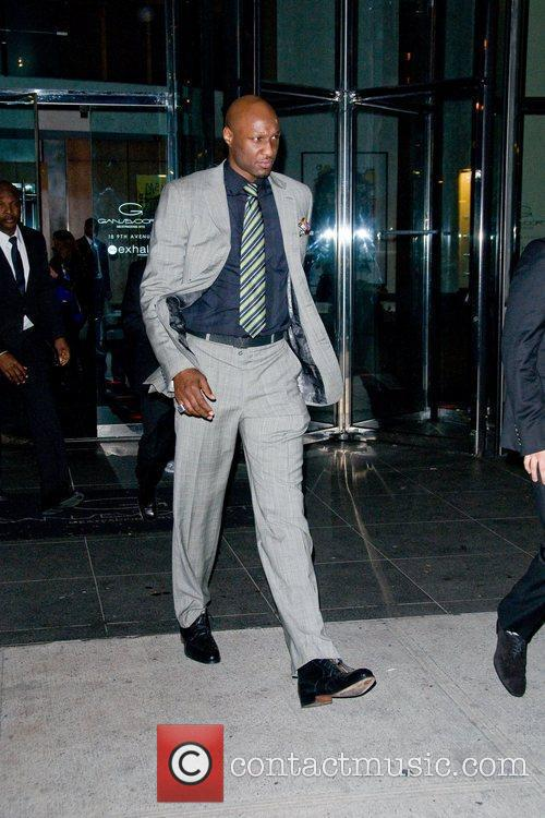 Lamar Odom outside his hotel New York City,...