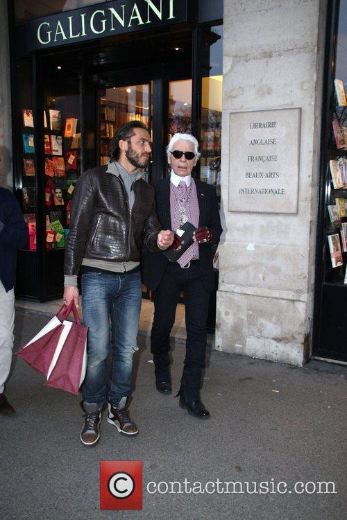 karl lagerfeld leaves the galignani book store 3762445