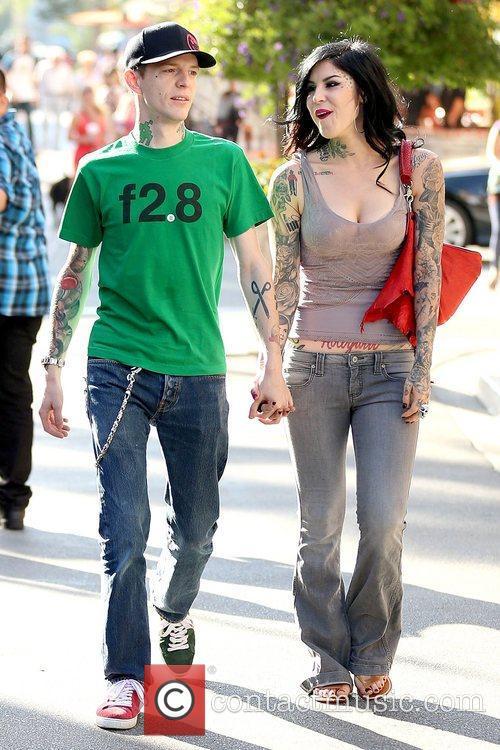 Kat Von D holding hands with her boyfriend...