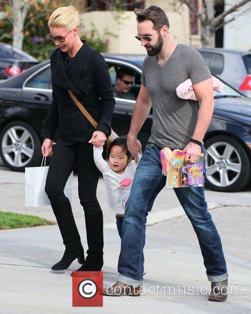 Katherine Heigl and her husband Josh Kelley with...
