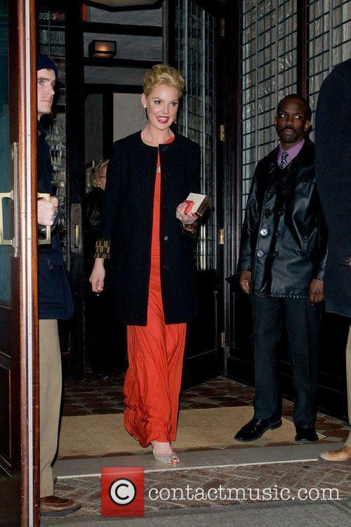 Katherine Heigl leaving her hotel in a red...