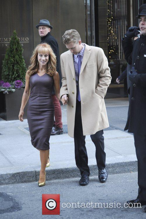 Kathy Griffin and boyfriend leaving thier hotel on...