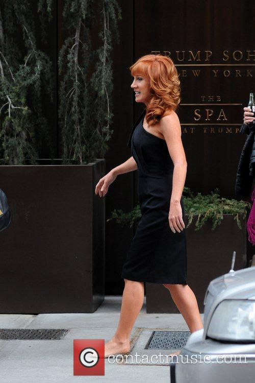 Kathy Griffin  leaves her Manhattan hotel barefoot...