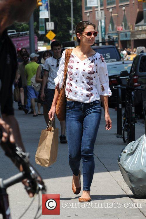 Katie Holmes is seen strolling around Union Square...