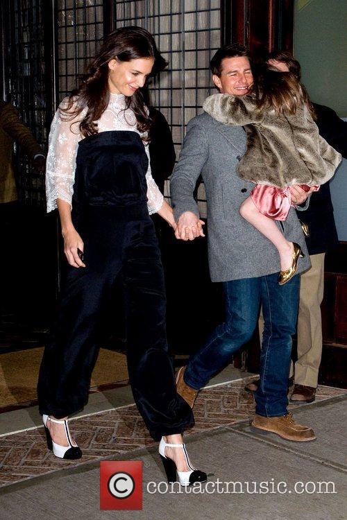 Katie Holmes and Tom Cruise leaving their Manhattan...