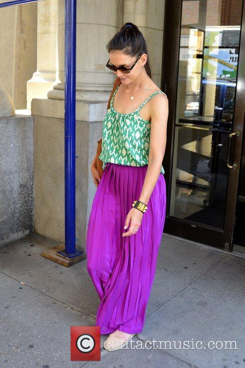 Wearing a long purple skirt and tank top...