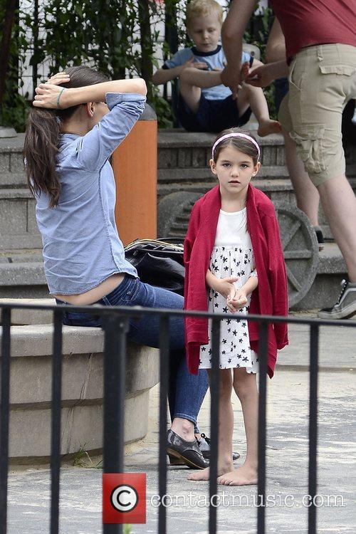 Katie Holmes and daughter Suri Cruise enjoy a...