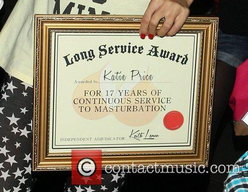Katie Price, Riverside Studios, Celebrity Juice. Katie and Long Service Award 1