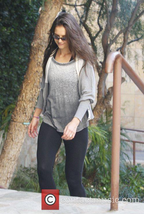 Katie Holmes heads to a workout studio in...