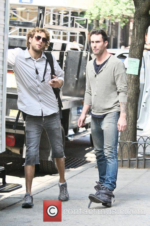 Adam Lavine filming on the set of her...