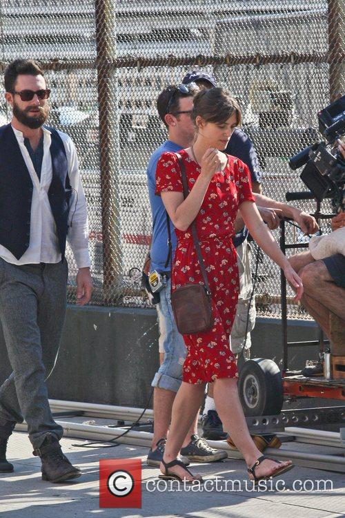 Keira Knightley and Adam Levine filming on the...