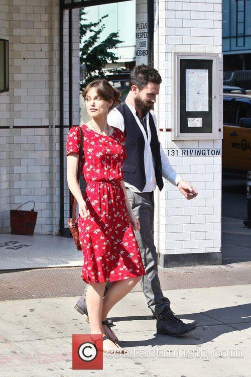 Keira Knightley, Adam Levine filming on the set...