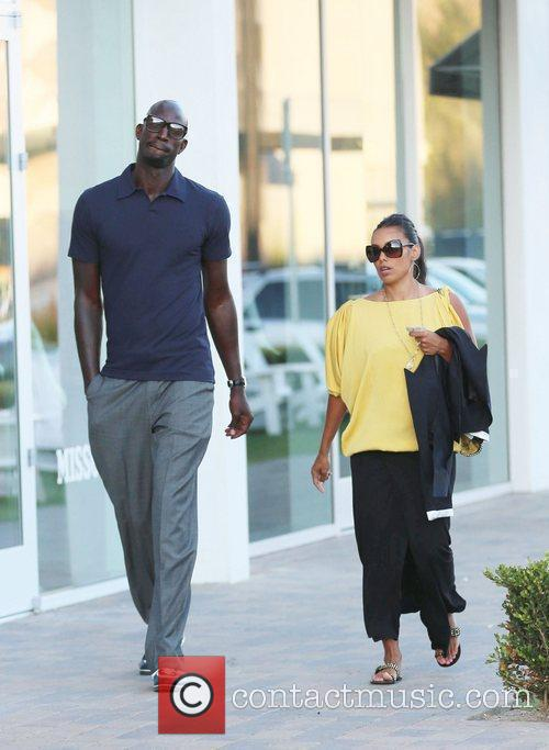 Boston Celtics center Kevin Garnett walks around Malibu...
