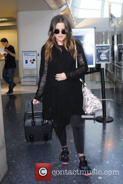 Khloe Kardashian is seen arriving at LAX Airport
