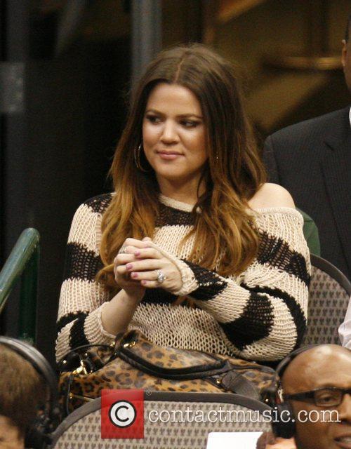 Khloe Kardashian attending the NBA basketball game between...