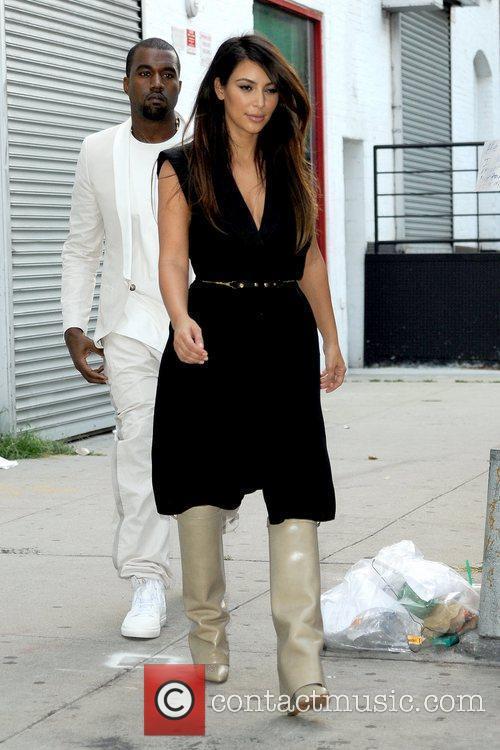 kim kardashian and kanye west leaving a 5903217