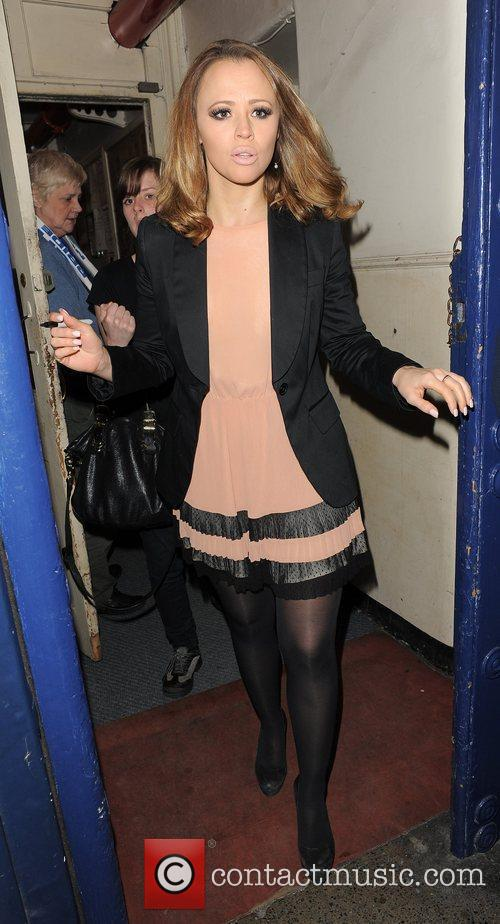 Kimberley Walsh leaves the Theatre Royal, having performed...