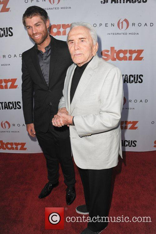Liam McIntyre and Kirk Douglas at the Starz...