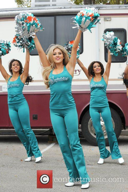 Miami Dolphins Cheerleaders perform at the Kiss Country...
