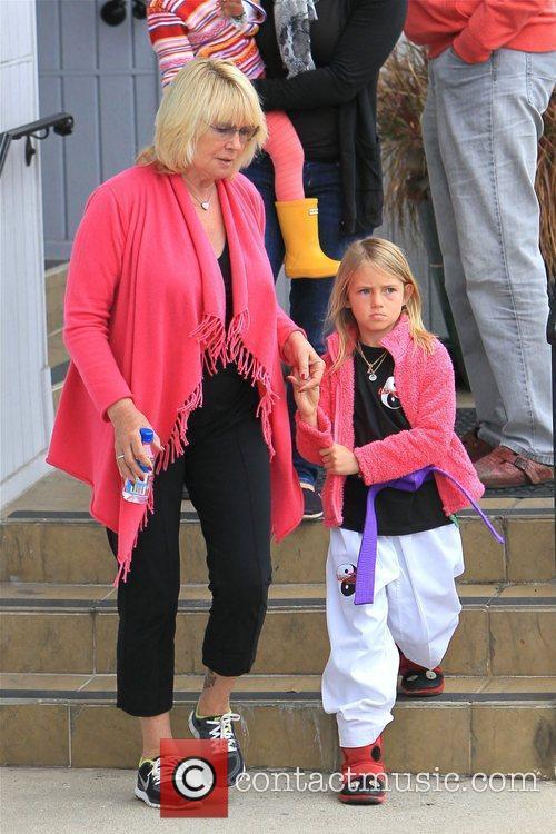 Erna Klum and Leni Samuel are seen heading...