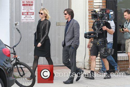 Cate Blanchett and Christian Bale   Filming...