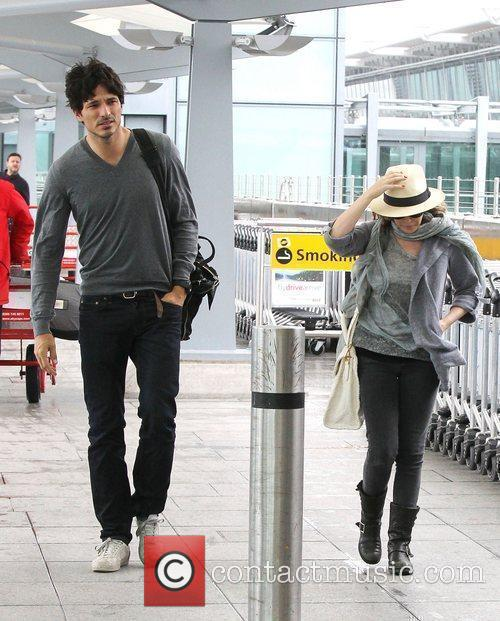 Kylie Minogue and Andres Velencoso  walking through...