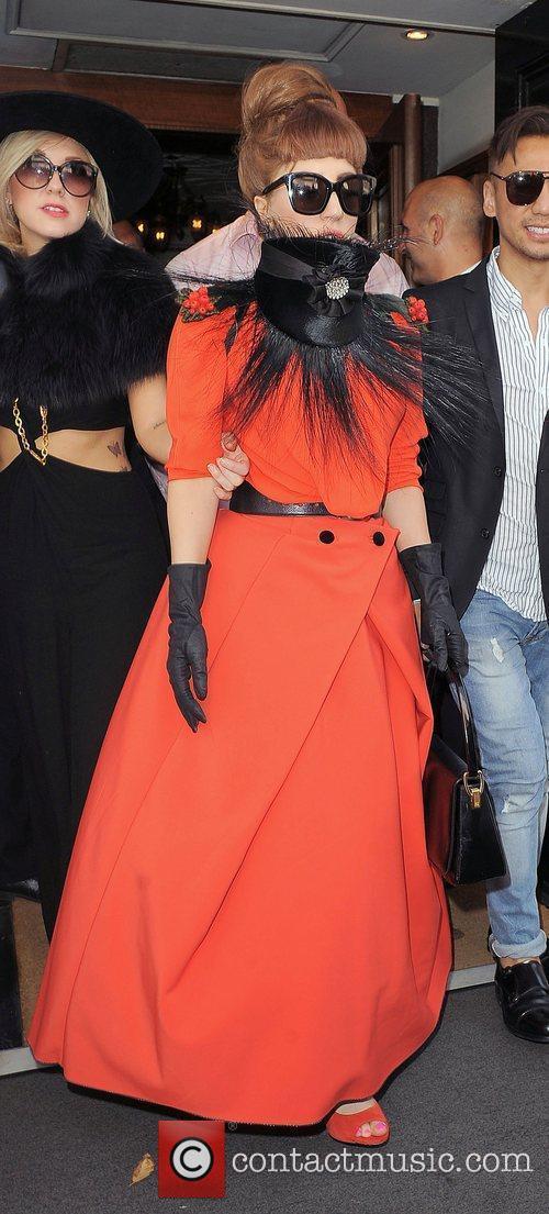 Lady Gaga enjoys an afternoon stroll around Mayfair,...