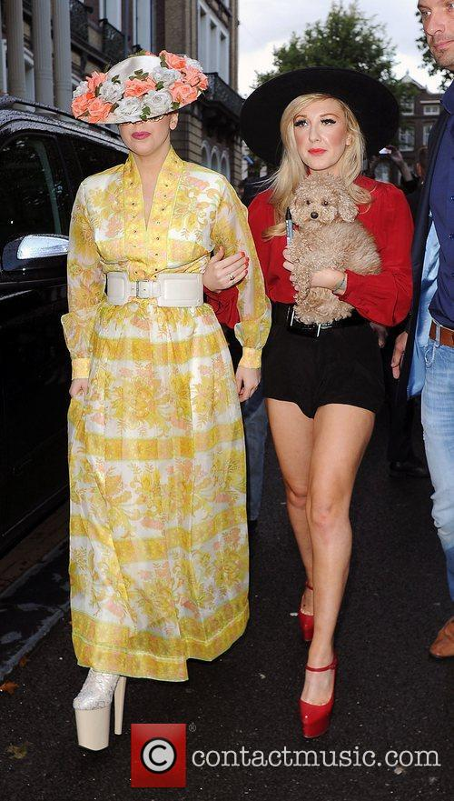 Lady Gaga  leaves her hotel with make...
