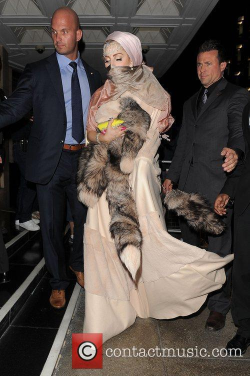 Lady Gaga arriving back at her hotel. London,...