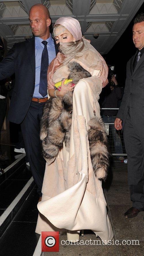 Lady Gaga arriving back at her hotel.