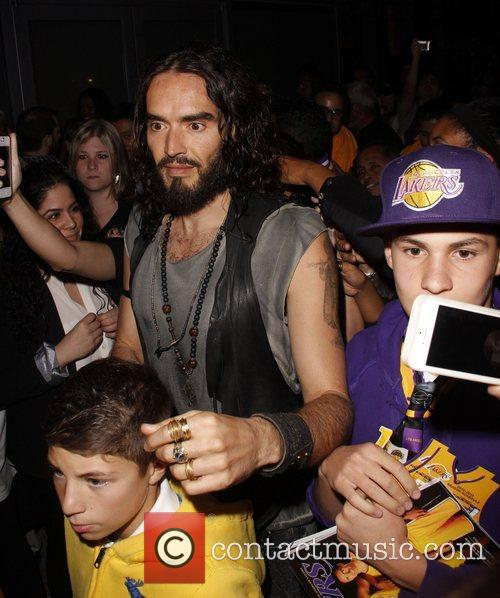 Russell Brand at the Staples Center to watch...