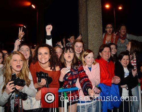Jedward Fans Celebrities outside the RTE Studios for...
