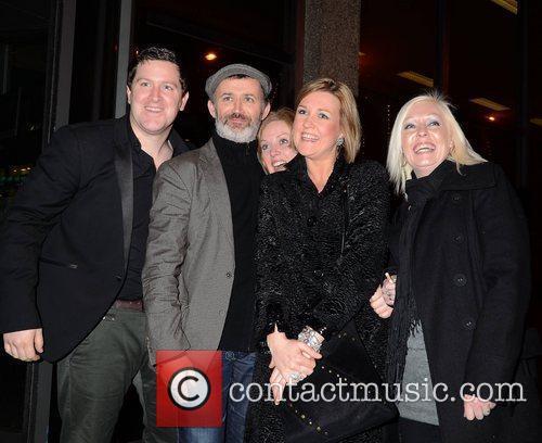 Tommy Tiernan with friends Celebrities outside the RTE...
