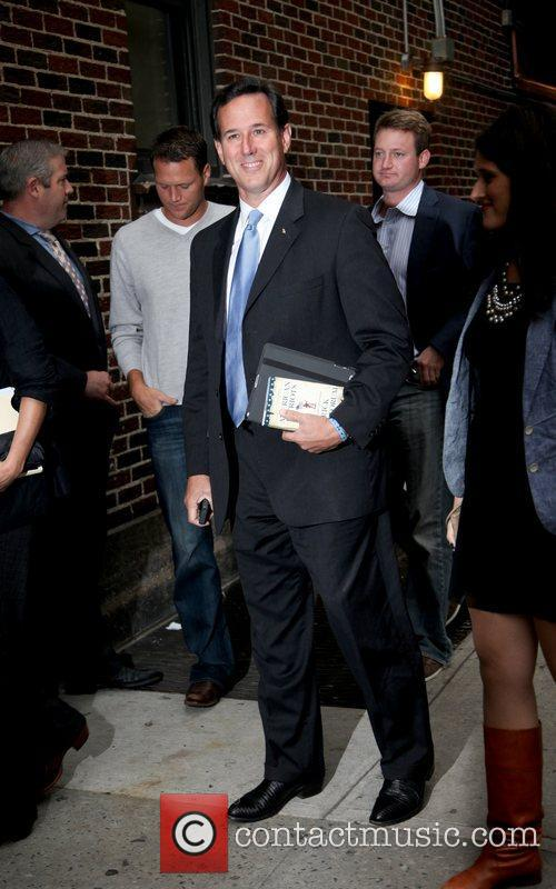 Rick Santorum Arrives to the Late Show with...
