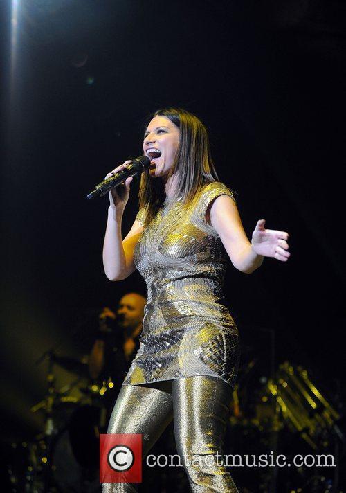 Italian singer Laura Pausini performing in concert at...