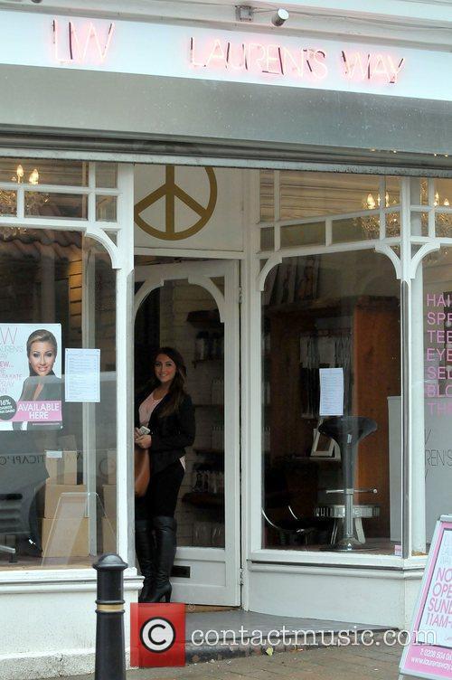 Outside her salon 'Lauren's Way' in Brentwood