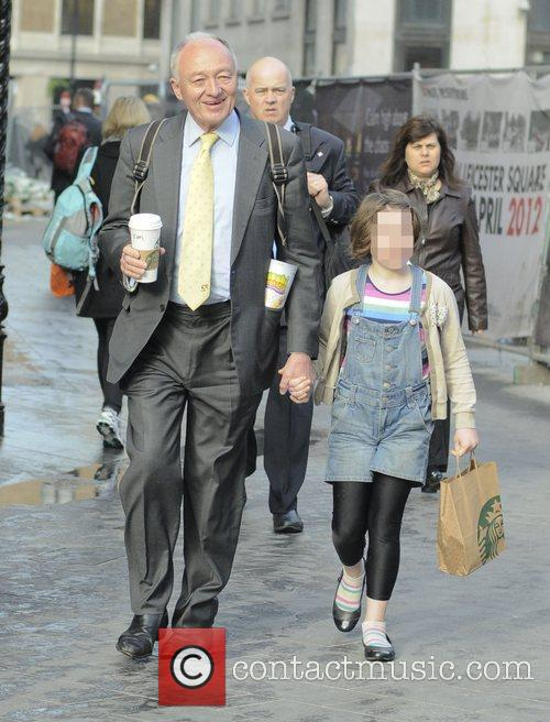 Ken Livingstone and his daughter outside LBC Radio...