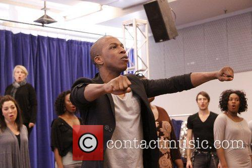 Press rehearsal with the cast of the Broadway...