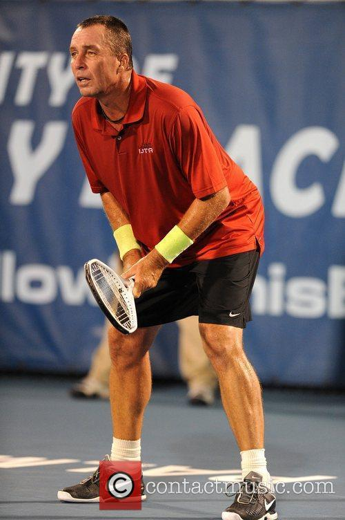 Ivan Lendl competes during the Delray Beach International...